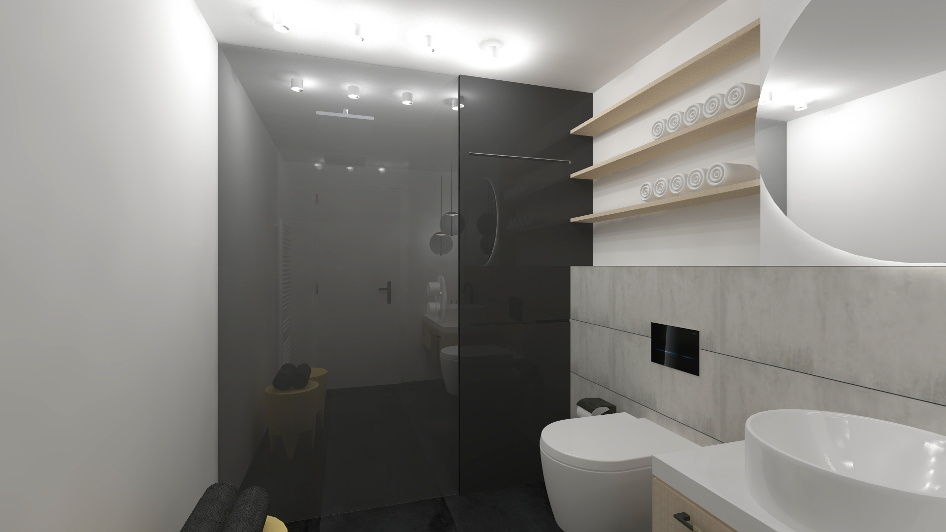 koupelna black pohled na sprchu